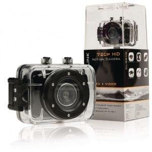 720p HD -action-kamera jossa 2 kosketusnäyttöä