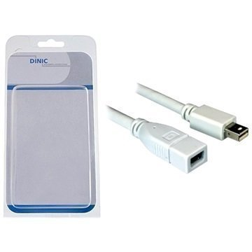 Dinic Mini DisplayPort -Jatkokaapeli 1 m Valkoinen