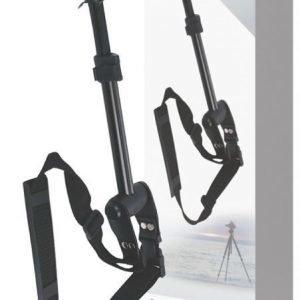 Kaulahihnalla varustettu kolmijalka videokameroille