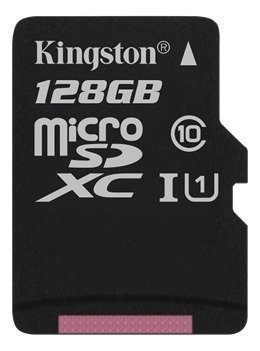 Kingston 128GB microSDXC-kortti Class 10 UHS-I 45MB/s lukunopeus