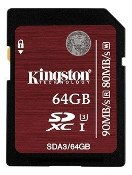 Kingston SDXC UHS-I U3 Card 64GB 90MB/s read 80MB/s write Class 3 water-/temperature-proof protected from airport X-rays