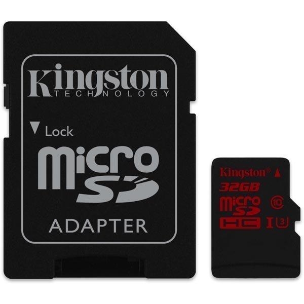 Kingston muistikortti microSDXC 32GB UHS-I Class 3 90/80Mbps adap