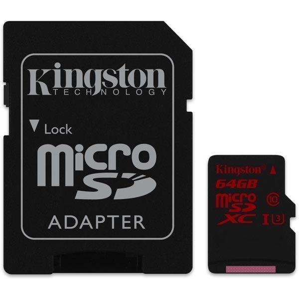 Kingston muistikortti microSDXC 64GB UHS-I Class 3 90/80Mbps adap
