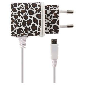 Ksix Micro USB Matkalaturi Leopardi Valkoinen