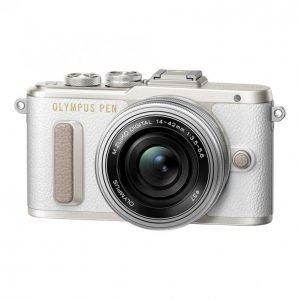 Olympus E-Pl8 Pancake Zoom Kit E-Pl8 White + Ez-M1442ez Silver