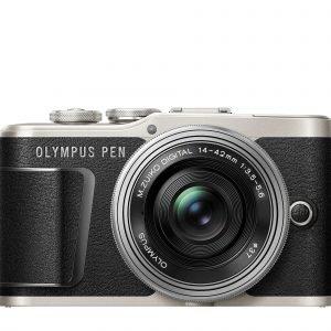 Olympus E Pl9 Järjestelmäkamera Runko Musta + 14 42 Mm Ez Pannukakkuobjektiivi Hopea