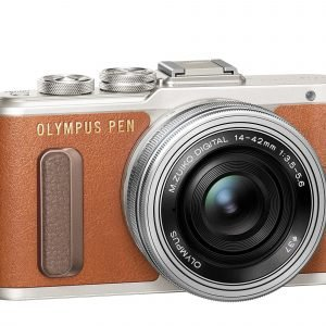 Olympus Pen E Pl8 Järjestelmäkamera Ruskea + Pannukakkuobjektiivi 14 42mm Ez Hopea