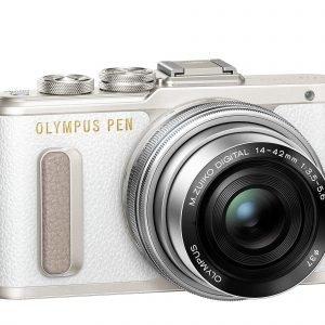 Olympus Pen E Pl8 Järjestelmäkamera Valkoinen + Pannukakkuobjektiivi 14 42mm Ez Hopea
