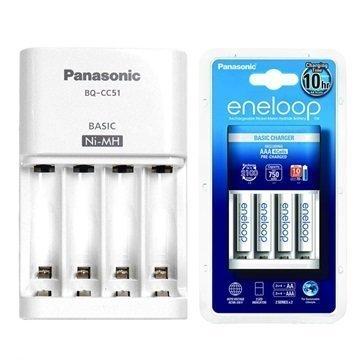 Panasonic BQ-CC51 Akkulaturi & 4 Eneloop AAA Paristoa