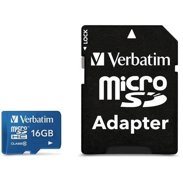 Verbatim microSDHC 16GB Class 10 UHS-I mukana sovitin sininen