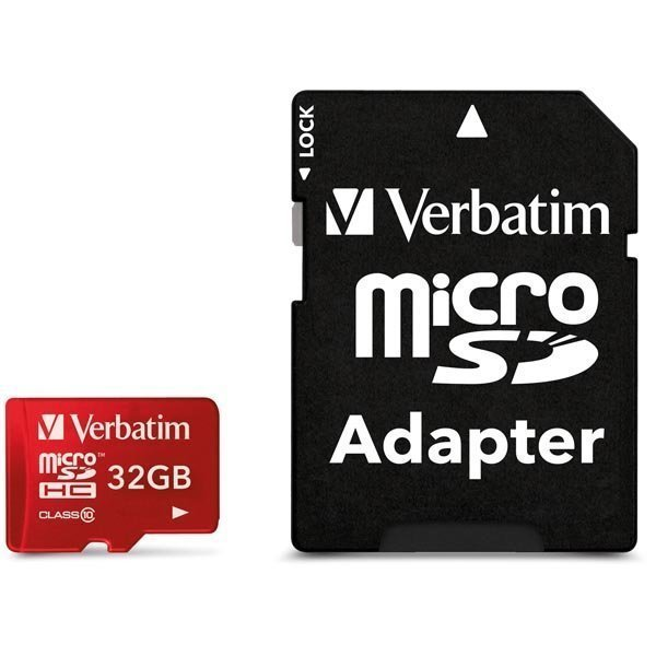 Verbatim microSDHC 32 GB Class 10 UHS-I mukana sovitin punainen