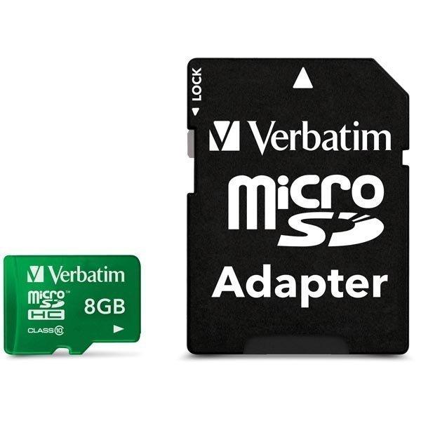 Verbatim microSDHC 8GB Class 10 UHS-I mukana sovitin vihreä