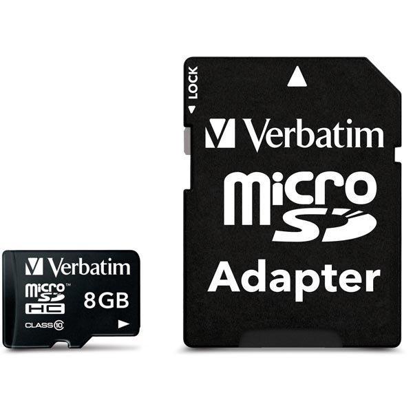 Verbatim microSDHC 8GB Class 10 mukana sovitin